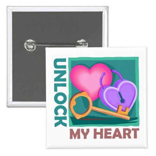 Unlock my heart: Love key for Valentine's Day Pinback Button