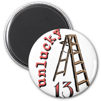 Unlucky 13 6 cm round magnet