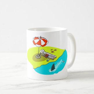 unlucky person funny cartoon beach and shark fin coffee mug
