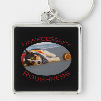 Unnecessary Roughness Silver-Colored Square Key Ring
