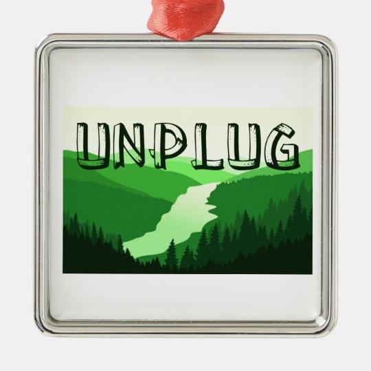 Unplug Silver-Colored Square Decoration