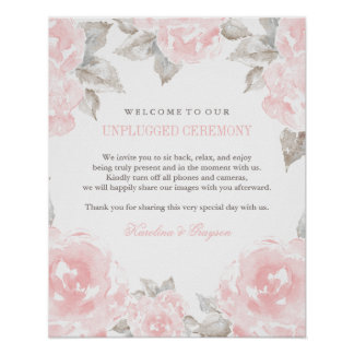 Unplugged Ceremony Poster | Watercolor Roses