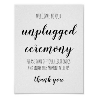 Unplugged Ceremony Simple Handwritten Wedding Sign