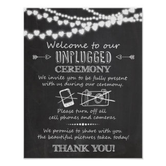 Unplugged ceremony wedding chalkboard sign poster