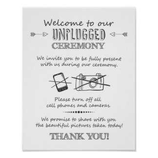 Unplugged ceremony wedding poster Ceremony sign