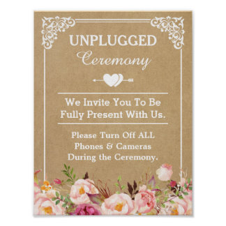 Unplugged Ceremony Wedding Sign Floral Kraft Poster