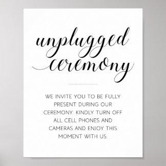 Unplugged Wedding Ceremony Sign - Alejandra Poster