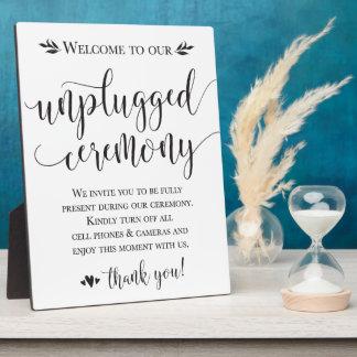 Unplugged Wedding Ceremony Sign Plaque 8x10