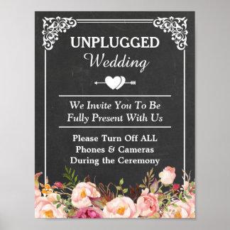 Unplugged Wedding Sign Vintage Chalkboard Floral