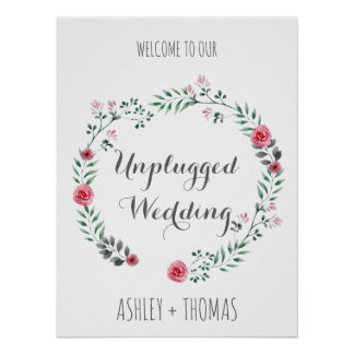 UNPLUGGED Wedding welcome floral calligraphy sign Poster