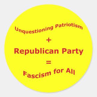 Unquestioning Patriotism Round Sticker