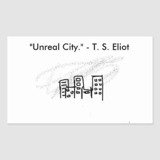 Unreal city rectangular sticker