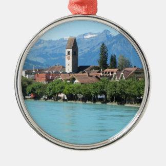 Unterseen, church and village Interlaken Christmas Ornament