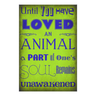 """Until You Have Loved An Animal..."" Poster Lime"