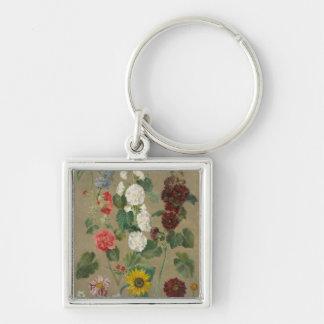 Untitled (Flowers) (oil on board) Key Chain