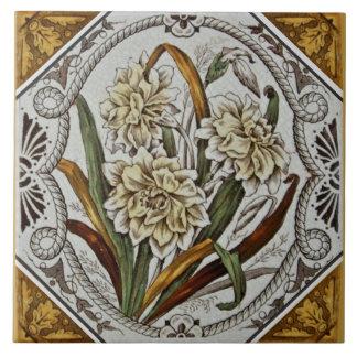 Unusual 1880s Victorian Floral Transferware Tile