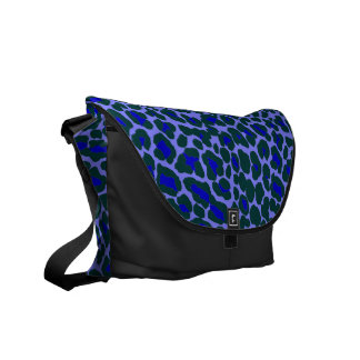 unusual blue and green leopard skin print courier bags