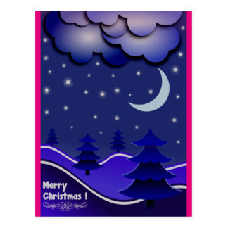 Unusual Blue, Hot Pink & Purple Christmas postcard