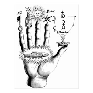 Unusual Hand Sun Alchemy Steampunk Postcard