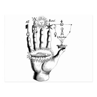 Unusual Hand Sun Alchemy Steampunk Postcard