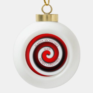 Unusual Spiral Happy Holidays Merry Christmas Year Ceramic Ball Christmas Ornament