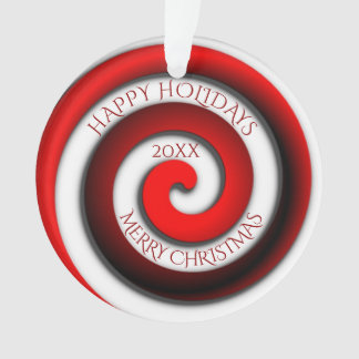 Unusual Spiral Happy Holidays Merry Christmas Year Ornament