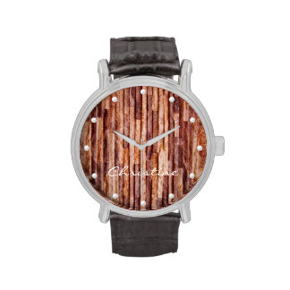 Unusual stripes stone wall coating add your name wristwatch