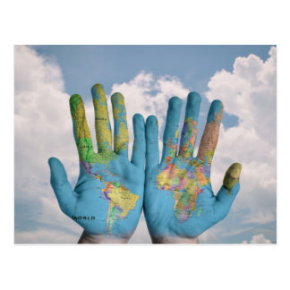 Unusual World Map Atlas Hands Modern Art Postcard