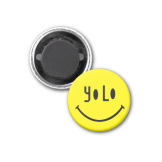 Unusual YOLO smiley face 3 Cm Round Magnet