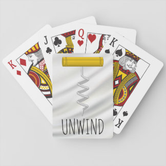 Unwind Corkscrew over Silvery Satin Playing Cards