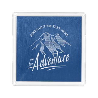 Up For Adventure Mountains White ID358 Acrylic Tray