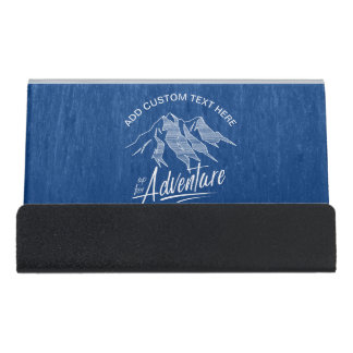 Up For Adventure Mountains White ID358 Desk Business Card Holder