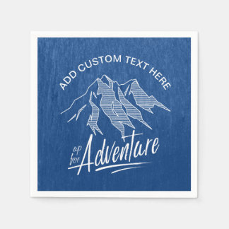 Up For Adventure Mountains White ID358 Paper Napkin
