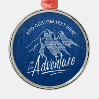 Up For Adventure Mountains White ID358 Silver-Colored Round Decoration