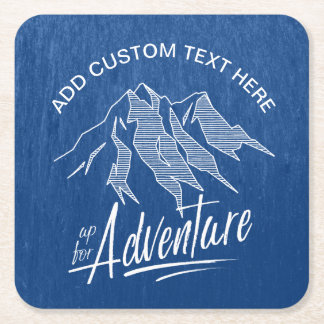 Up For Adventure Mountains White ID358 Square Paper Coaster
