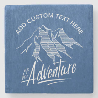 Up For Adventure Mountains White ID358 Stone Coaster