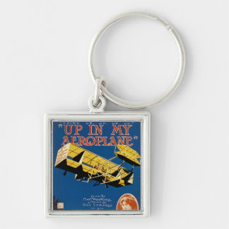 Up in My Aeroplane Silver-Colored Square Key Ring