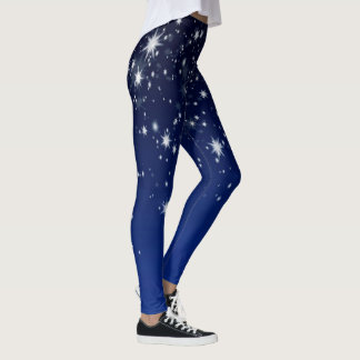 Up In The Sky - White Stars on Blue Leggings