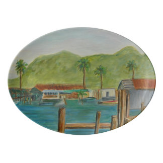 Up the Creek Porcelain Coupe Platter Porcelain Serving Platter