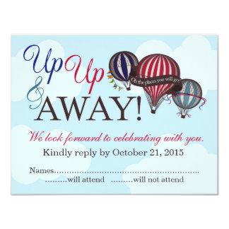 Up Up & Away Hot Air Balloon RSVP Card 11 Cm X 14 Cm Invitation Card