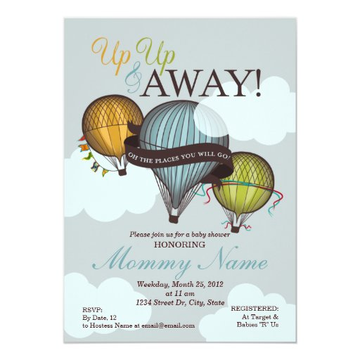 Up up amp away hot air balloon shower invitation zazzle