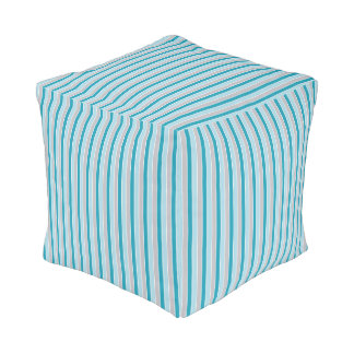 Updated Nautical stripes, beachy blue gray Pouf