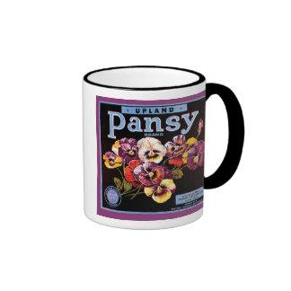 Upland Pansy VIntage Crate Label Ringer Coffee Mug