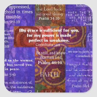 Uplifting Bible Verses about FAITH Square Sticker