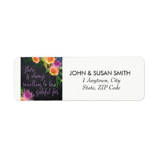 uplifting colourful floral return address labels