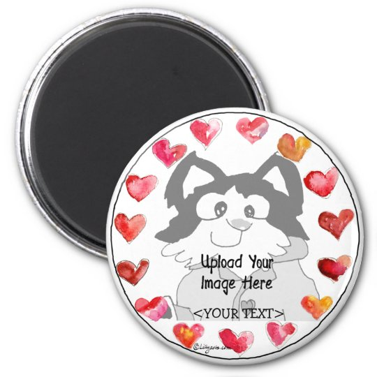 Upload Photo Cartoon Hearts Personalised Magnets