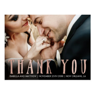 Upload Your Own | Rose Gold Thank You Photography Postcard