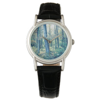 Upload your photo, dreamy forest, ladies watch