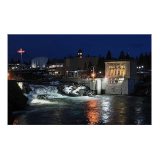 UPPER FALLS of SPOKANE RIVER Poster