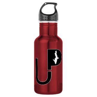 Upper Peninsula logo (Black) on Red Water Bottle